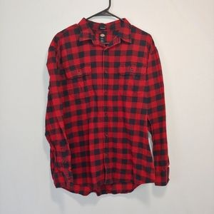 Dickies Relaxed Fit Red and Black Flannel Shirt